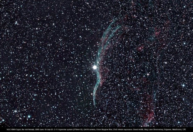 "Ngc6960, Western portion of Veil Nebula (11"" SCT)"